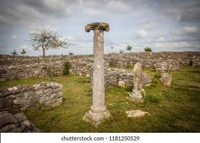 Roman ruins of Histria citadel in Dobrogea, Romania.
