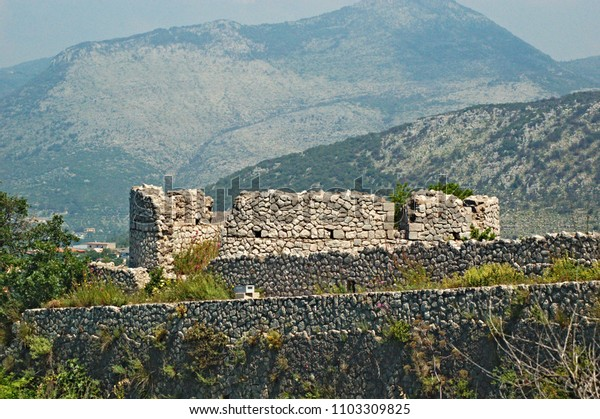 Roman ruins on a mountainside in Italy south of Rome