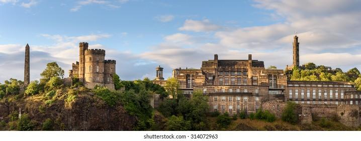 Roman ruins on top of Calton Hill in the center of Edinburgh, Scotland.