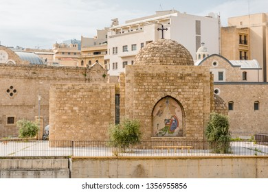 The Roman ruins and Saint George Cathedral, Downtown, Beirut, Lebanon