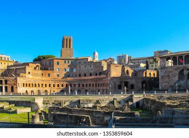Roman ruins of the Trajan Forum, Trajan's Market and the Militia Tower in the winter of 2012. Rome Italy