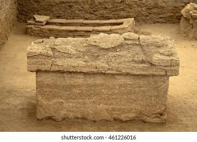 Roman sarcophagus in the archeological site Viminacium