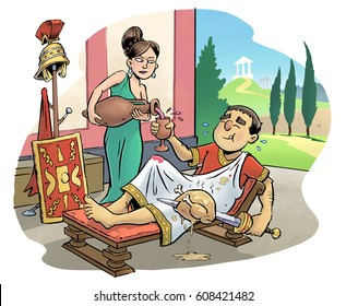 Roman senator being waited on by a servant in his villa, with a view of the forum behind. His weapons and armor can be seen.