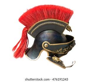 Roman soldier helmet on white background