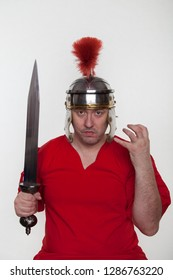 A roman soldier with with a sword on the white background.