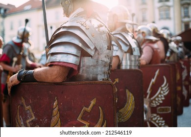 Roman soldiers legionaries standing at ease