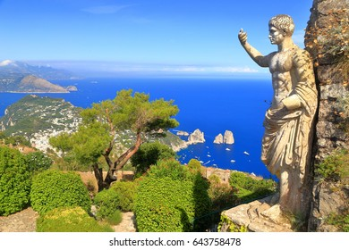 Roman statue above the Mediterranean sea on top of Monte Solaro, Capri island, Italy