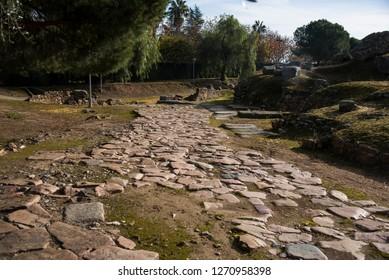 Roman stone road in Merida, Spain