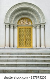 Roman style gate of the grand entrance to the church in Thailand