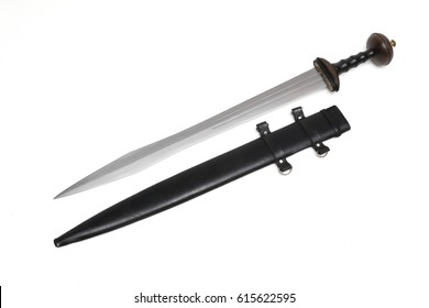 Roman sword with leather sheath
