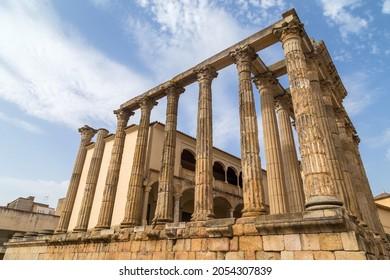 Roman temple of Diana in Merida, province of Badajoz, Extremadura in Spain.