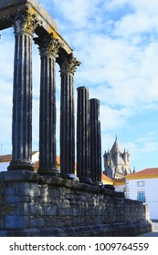 Roman temple in the heart of Evora town in Portugal