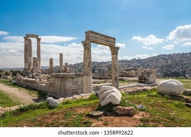 Roman Temple of Hercules on the Citadel Hill (Jabal al-Qal'a) of Amman, Jordan