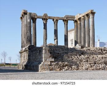 Roman temple in the old city of Evora, Portugal