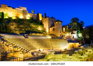 Roman Theater and Alcazaba of Malaga at nightfall, Historic and Artistic Center of Malaga, Andalusia, Spain, Iberian Peninsula