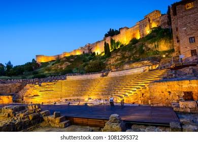 Roman Theater and Alcazaba of Malaga at nightfall, Historic and Artistic Center of Malaga, Andalusia, Spain, Iberian Peninsula