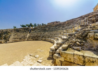 The Roman Theater and the Crusader Castle, in Tzipori (Sepphoris) National Park, Northern Israel