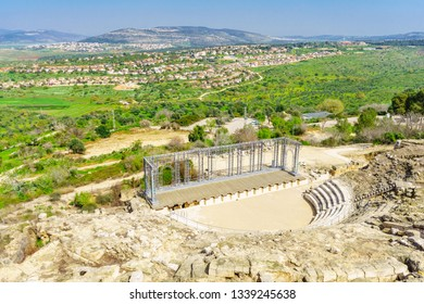 The Roman Theater and Galilee landscape, in Tzipori (Sepphoris) National Park, Northern Israel