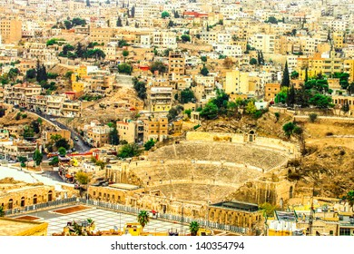 Roman theatre and buildings in Amman city center, Jordan.
