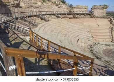 Roman theatre of Medellin, Spain. High view from grandstand