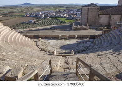 Roman theatre of Medellin, Spain. High view from grandstand to stage