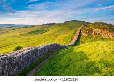 Roman Wall near Caw Gap, or Hadrian's Wall, a World Heritage Site in the beautiful Northumberland National Park. Popular with walkers along the Hadrian's Wall Path and Pennine Way