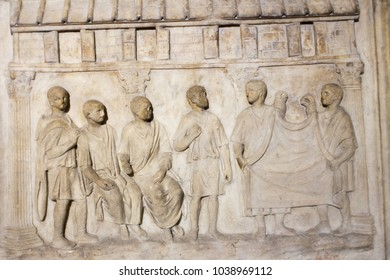 roman writing and bas-reliefs imperial era archeology italy