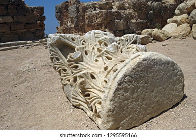 Roman-Byzantine Corinthian capital lying in the fortress of Arsuf (Apollonia), Third Crusade stronghold. In the Battle of Arsuf Richard I of England (Lionheart) defeated the Ayyubid forces of Saladin