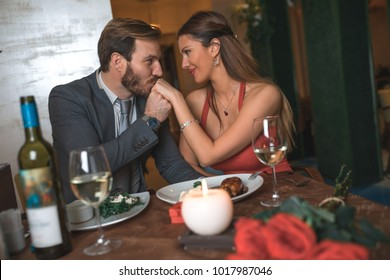 Romance in the restaurant on Valentine's Day