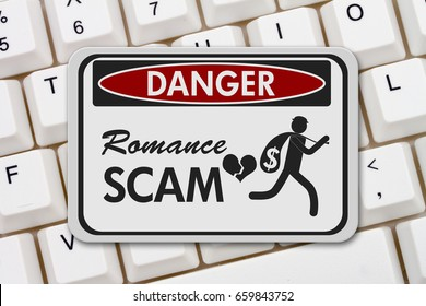 Romance Scam danger sign, A black and white danger sign with text Romance Scan and theft icon on a keyboard 3D Illustration
