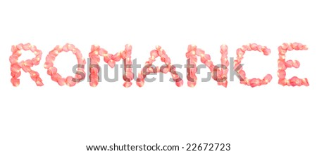 romance word arranged pink rose petals stock photo edit now