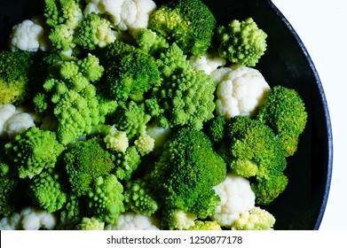 Romanesco broccoli, broccoli and cauliflower