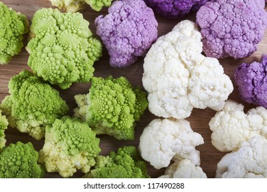 Romanesco, white and purple cauliflower from above.