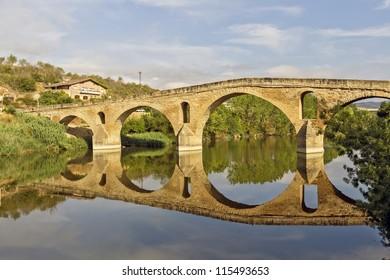 Romanesque bridge At Puente la Reina, which runs the Camino de Santiago, eleventh century