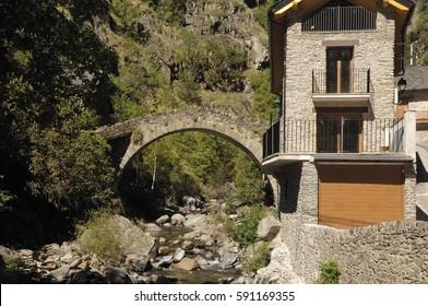 Romanesque bridge of  Tavascan, Lleida province, Catalonia, Spain