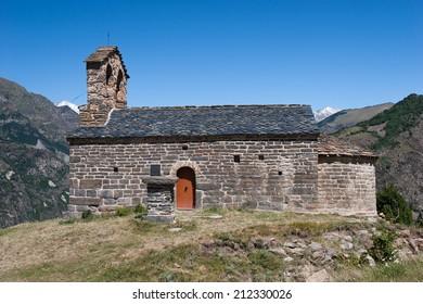 Romanesque church in Pyrenees (Sant Quirc de Durro, Lleida, Spain)