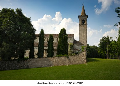 Romanesque church of Saint Pancrazio,in the ancient village of Montichiari ,in Italy