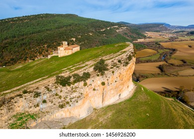 Romanesque hermitage of San Pantaleon de Losa, of the legend of the Holy Grail, in Spain.