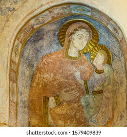 Romanesque mural painting of the madonna and the child, Malov, Denmark, January 23, 2018