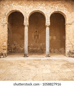 Romanesque pillars of Basilica Euphrasia in Porec