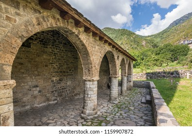Romanesque porch and church of Santa Eulalia de Erill la vall, Catalonia, Spain. Catalan Romanesque Churches of the Vall de Boi are declared a UNESCO World Heritage Site Ref 988