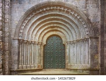 Romanesque portal of the Monastery of Armenteira in Galicia, Spain