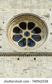 Romanesque rose window of the ancient church of Saint Peter de Galligans of the city of Gerona, Spain.