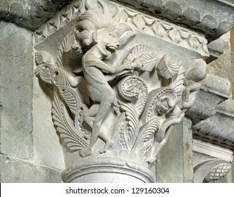 Romanesque sculpture, Basilica Saint Magdalen in Vezelay, France, World Heritage Site by UNESCO