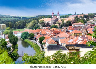 romanesque St. Procopius basilica and monastery, jewish town Trebic (UNESCO, the oldest Middle ages settlement of jew community in Central Europe), Moravia, Czech republic, Europe