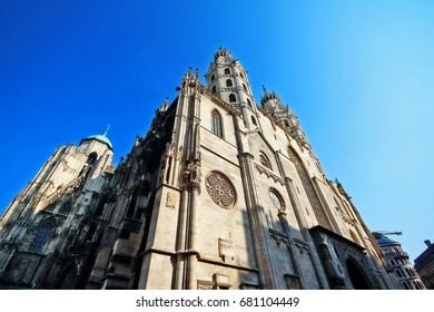 Romanesque Towers on west front with Giant's Door of St. Stephen's Cathedral (Stephansdom, or Domkirche St. Stephan), the mother church of Roman Catholic Archdiocese of Vienna, Stephansplatz, Austria