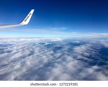 Romania, aerial view, 02.01.2019. Tarom is the Romanian air services company, flying to major European cities.