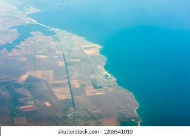 Romania Black Sea resorts of Eforie Nord, Sud, 23 August and Costinesti view from airplane