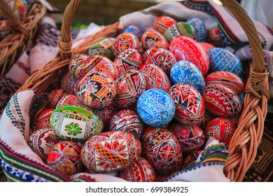 ROMANIA, BUCOVINA, VORONET. 15 July 2017 - Stalls with handicrafts - Wooden painted Easter eggs