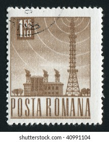 ROMANIA - CIRCA 1953: Satellite communication radio tower, circa 1953.